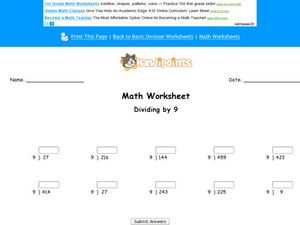 Dividing by 9 - Two and Three Digit Dividends Worksheet