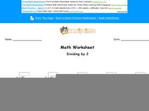 Dividing By Two Worksheet
