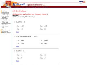 Dividing Decimals by Whole Numbers Worksheet