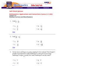 Dividing Fractions and Mixed Numbers Worksheet