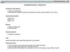 Dividing Whole Numbers: 1-Digit Divisors Lesson Plan
