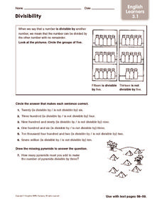 Divisibility: English Learners Worksheet