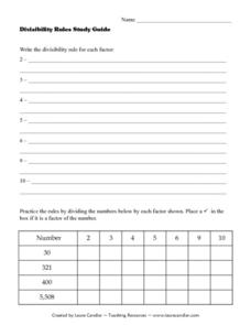 Divisibility Rules Study Guide Lesson Plan
