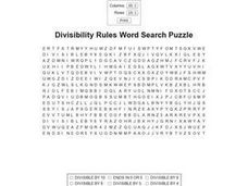 Divisibility Rules Word Search Puzzle Worksheet