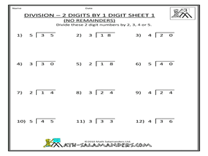 Division- 2-Digits by 1-Digit No Remainders) Sheet #1 3rd - 4th Grade ...