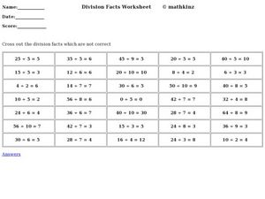Division Facts Practice Worksheet