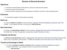 Division of Decimal Numbers Lesson Plan