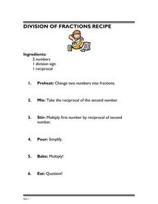 Division of Fractions Recipe Lesson Plan