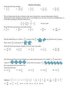 Division of Fractions Worksheet