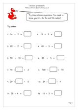 Division Practice #1 Worksheet
