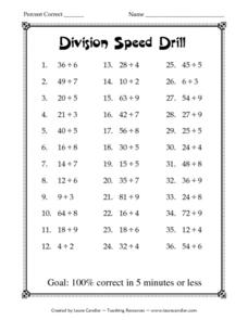 Division Speed Drill Lesson Plan