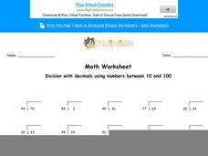 Division with Decimals Using Numbers Between 10 and 100: Part 4 Worksheet