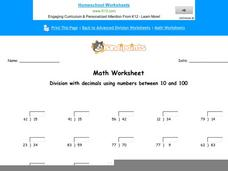 Division with Decimals Using Numbers Between 10 and 100: Part 7 Worksheet