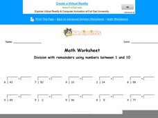 Division With Remainders Using Numbers Between 1 and 10: Part 8 Worksheet