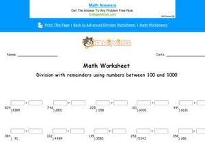 Division With Remainders Using Numbers Between 100 and 1000: Part 5 Worksheet