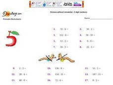 Division Without Remainder: 2-Digit Numbers Worksheet