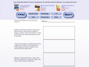 Division Word Problems Two- Version 4 Worksheet