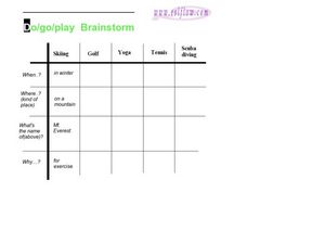 Do/Go/Play Brainstorm Worksheet