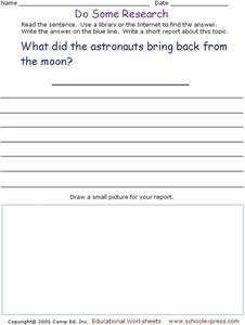 Do Some Research - Astronauts Moon Visit Worksheet