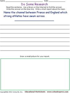 Do Some Research - Channel Between France and England Worksheet