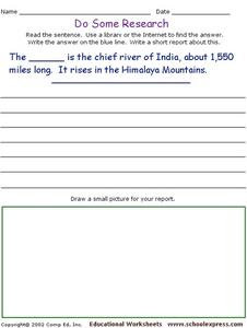 Do Some Research - Chief River of India Worksheet