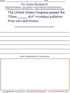 Do Some Research: Clean Air Act Worksheet