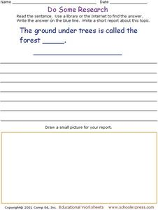 Do Some Research - Forest Floor Worksheet
