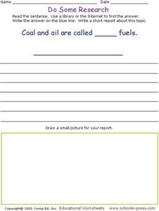 Do Some Research - Fossil Fuels Worksheet