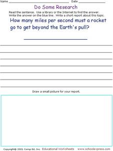 Do Some Research - Gravity and Speed Worksheet