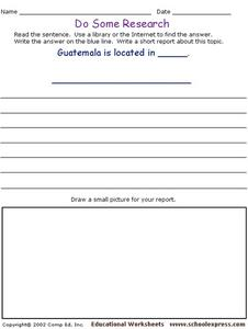 Do Some Research - Guatemala Worksheet