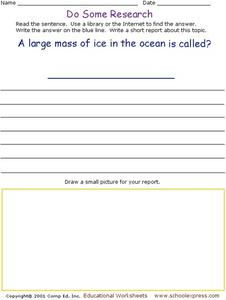 Do Some Research - Large Mass of Ice in the Ocean Worksheet
