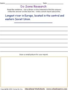 Do Some Research- Longest River in Europe: Volga River Worksheet