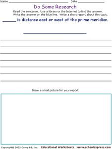 Do Some Research: Longitude and Latitude Worksheet