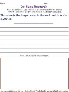Do Some Research - Nile River: Longest River in the World Worksheet