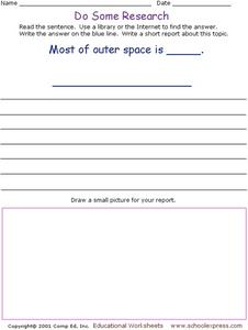 Do Some Research: Outer Space Worksheet