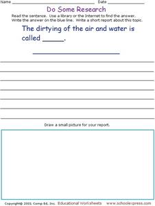 Do Some Research: Pollution Worksheet