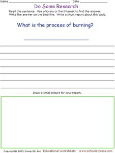 Do Some Research: Process of Burning Worksheet