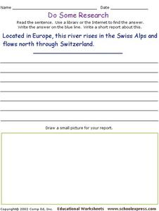 Do Some Research - Rhine River in Switzerland Worksheet