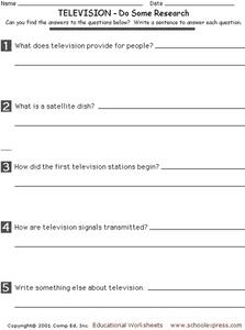 Do Some Research- Television Worksheet