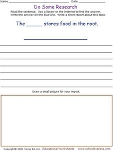 Do Some Research - The _____ Store Food in the Root. Worksheet