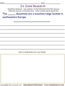 Do Some Research - The Balkan Mountains Worksheet