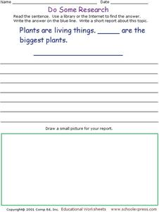 Do Some Research - The Biggest Plants Worksheet