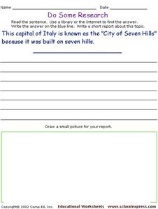 Do Some Research - The City of Seven Hills - Rome Worksheet