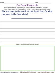 Do Some Research - The South Pole Worksheet