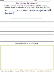 Do Some Research - Thrust Worksheet
