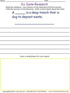 Do Some Research - Waste Disposal Worksheet