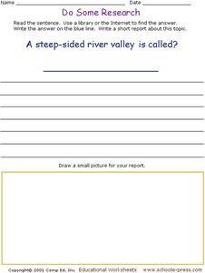 Do Some Research - What is a Steep-side River Valley Called? Worksheet