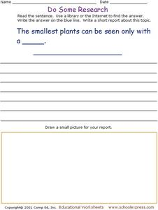 Do Some Research - What is Used to See the Smallest Plants? Worksheet