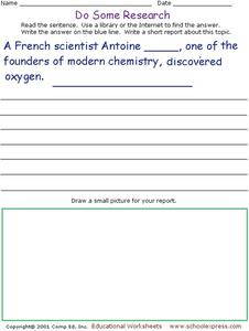 Do Some Research: Who Discovered Oxygen? Worksheet