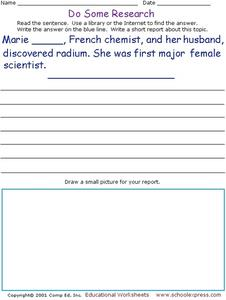 Do Some Research: Who discovered Radium? Worksheet